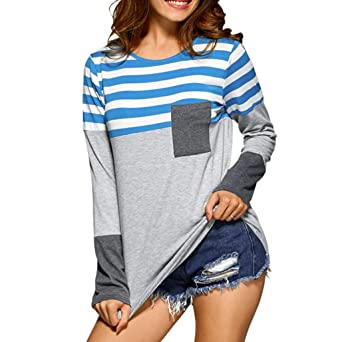 Damen Langarm T-Shirt Oberteile Frauen Lose Pullover Lange Ärmel Streifen  Shirt Tops Bluse (S, Blau) 333ab5ef1c