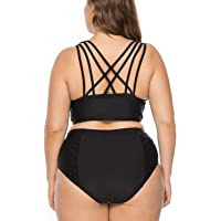 X-HERR Women Sexy Plus Size Strappy High Waisted Bikini Swimsuits Underwire 2 Pieces Bathing Suits