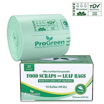 Amazon.com: proGREEN 100% bolsas biodegradables 13 galones ...