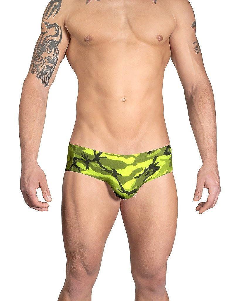 Vuthy Sim Brand Men/'s Swim Brief in Neon Green Camouflage Print