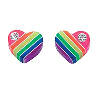 Sterling Silver Stud Earrings - Rainbow Coloured Resin Heart with Crystal 7dZJDQJ