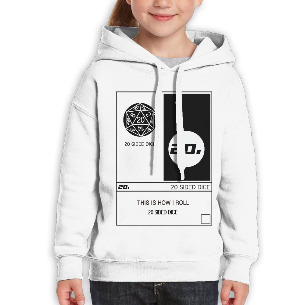 DTMN7 20 Sided Dice-This Is How I Roll Graphic Printed 100/% Cotton Pullover For Teens Spring Autumn Winter