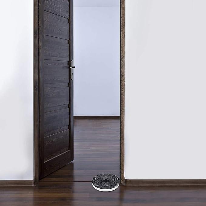 Fowong Cinta de espuma de celda abierta, 12 mm (ancho) * 3 mm (grueso), burletes para puertas y ventanas Cinta aislante adhesiva (3 rollos con un total de 15 m de largo):