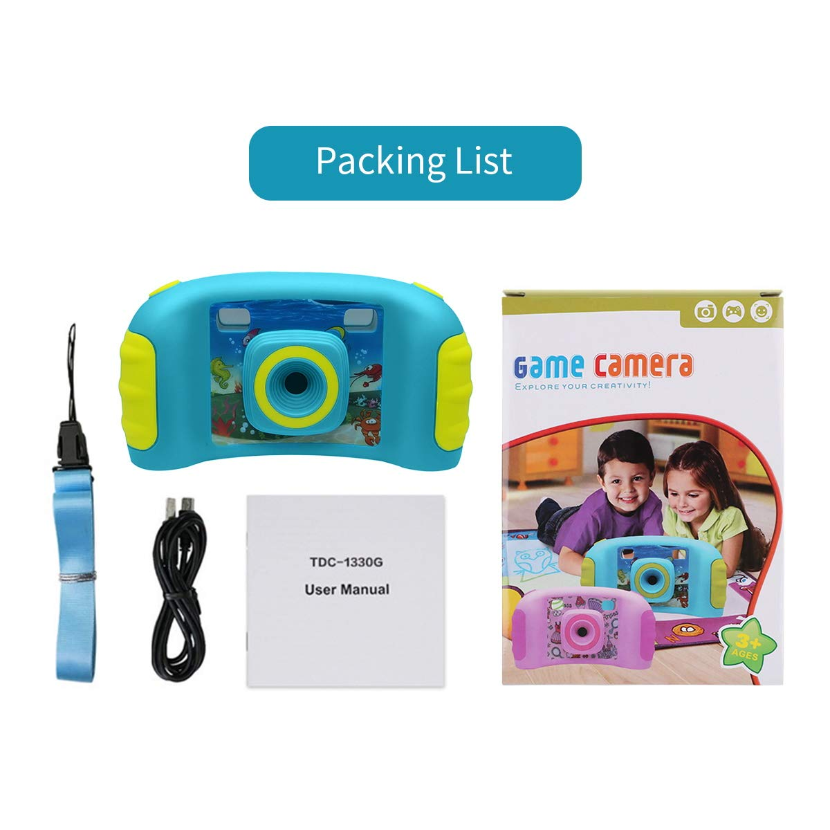 HankeRobotics Kids Digital Camera, with 8GB Micro SD Card, Kids Digital Photo/Video Camera with 4X Zoom, 1.7 Inch Screen Screen Action Camera Camcorder for Children Boys Girls Birthday Gift,Blue by HankeRobotics (Image #9)