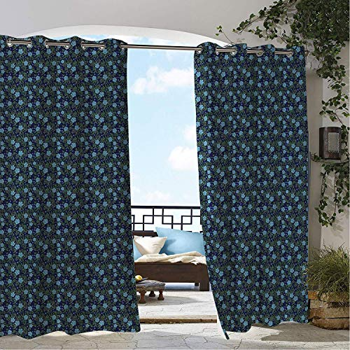 Linhomedecor Outdoor Waterproof Curtain Gardening Forget Me Not Flowers Surrounded Tiny Periwinkles and Leaves Pale Blue Green Navy Blue doorways Grommet Patterned Curtain 72 by 72 ()