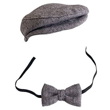 Baby Toddler Peak Beanie Cap Crochet Hat Bow Tie Photography Props Outfit Set