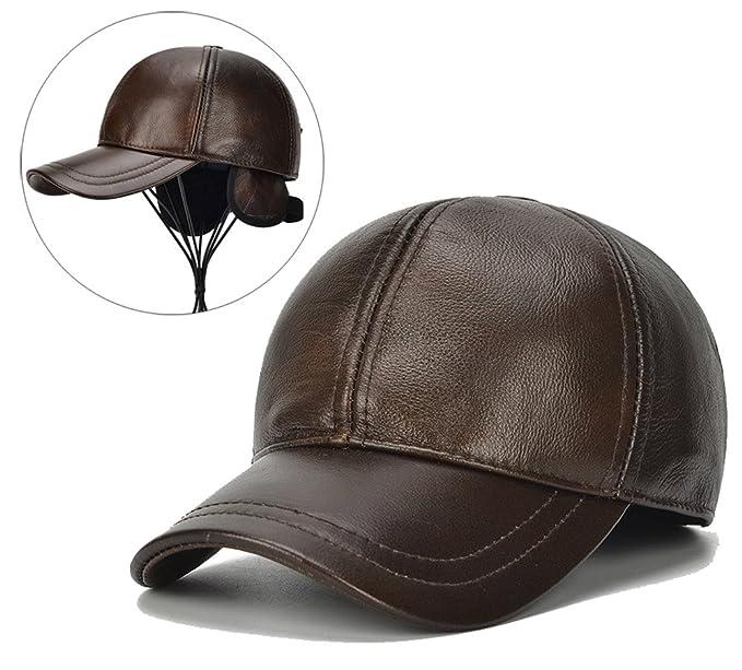 3484c3edf560a Roffatide Gorra de Béisbol de Cuero para Hombres con Orejeras Ajustable Al  Aire Libre Sombrero de Invierno  Amazon.es  Ropa y accesorios