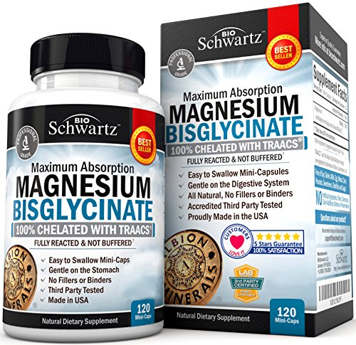Magnesium Bisglycinate 100% Chelate TRAACS. No-Laxative Effect. Maximum Absorption & Bioavailability, Fully Reacted & Not Buffered. Sleep, Energy, Anxiety, Leg Cramps, Headaches. Non-GMO
