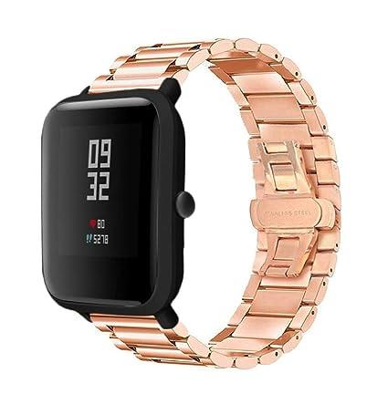 Zolimx Pulsera de Acero Inoxidable Accesorios Reloj Correa de Banda para Xiaomi Huami Amazfit Bip Youth Smartwatch