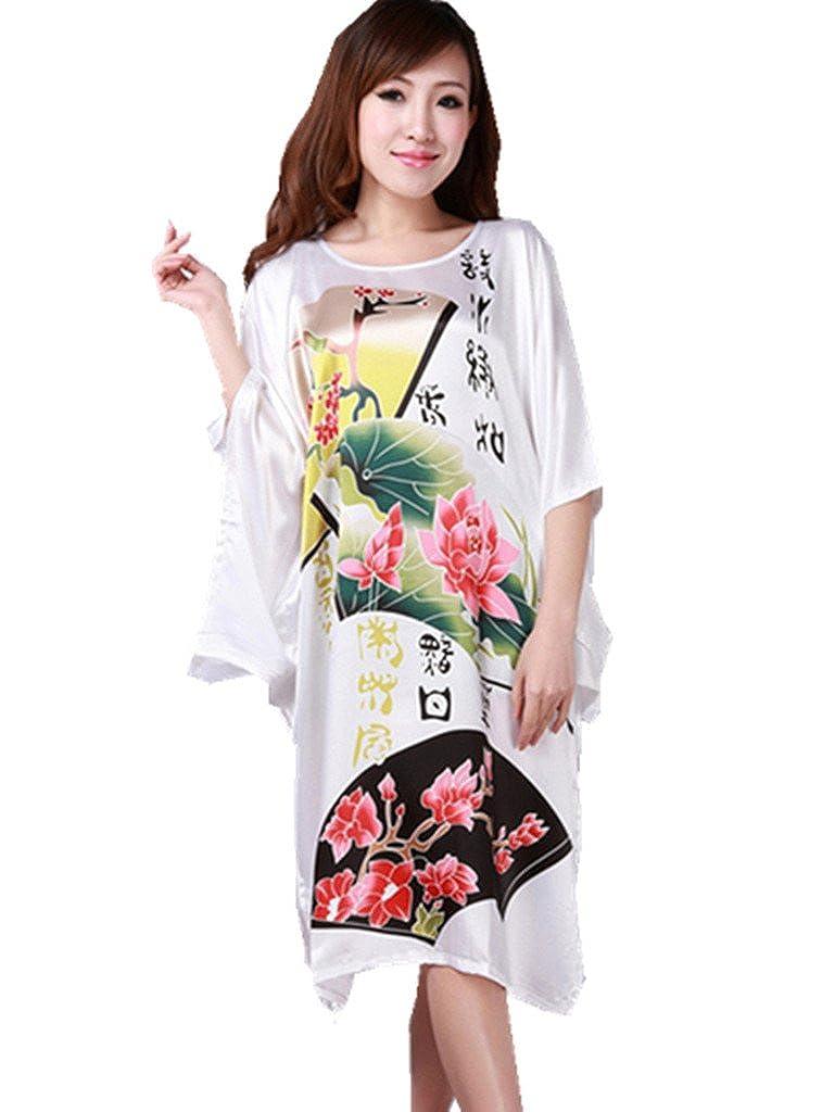YICHUN Femme Large Kimono Chemise de Nuit Pyjamas Robe de Nuit/de Chambre Peignoir Style Chinois Elégant Imprimé