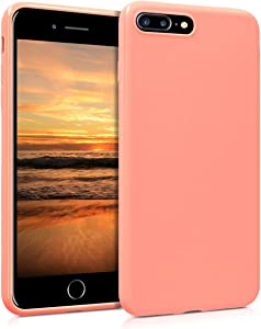 kwmobile TPU Silicone Case Compatible with Apple iPhone 7 Plus / 8 Plus - Soft Flexible Protective Phone Cover - Coral Matte