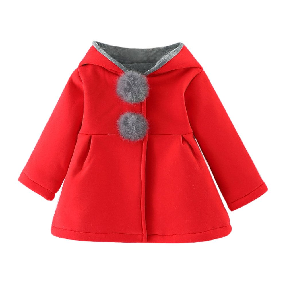 Baby Girls Cashmere Parka Down Jacket Rabbit Ear Hooded Coat Thick Warm Clothes 1-3 Years Infant Baby Long Sleeve Cloak Jacket Warm Outerwear