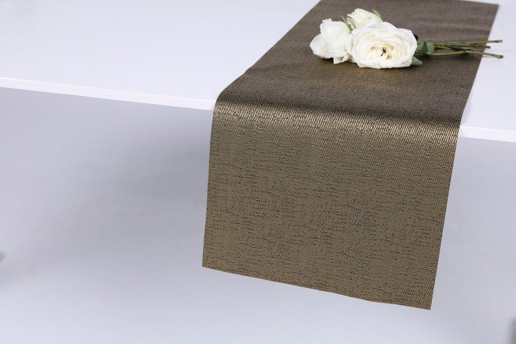 HYSENM Grade Eco-friendly 12''X74'' Waterproof Heat Insulation PVC Vinyl Weave Table Runner, gold 2