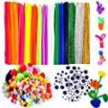 BellaBetty 600 PCS Pipe Cleaners Set, Craft Supplies Set Which Includes 120 PCS Pipe Cleaners, 360 Pcs Pom Poms and 120 PCS Self-sticking Wiggle Eyes for School Craft Art Supplies by