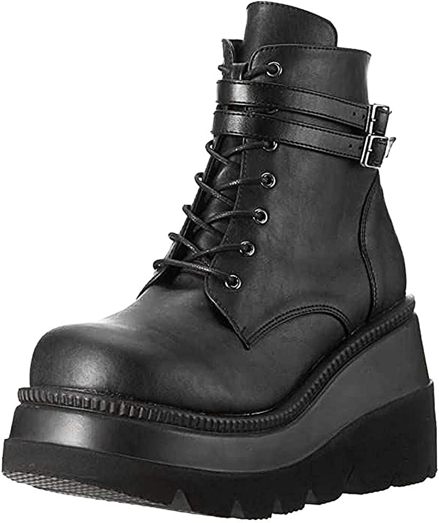 Simayixxch Womens Motorcycle Boots Round Toe Thick Waterproof Platform Shoes Lace-Up Ankle Booties Fashion Party Boots