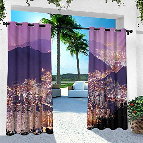 leinuoyi Urban, Outdoor Curtain Ties, Skyline of Busan South Korea Modern Cityscape Lively Night Buildings and Hills, for Patio Furniture W108 x L96 Inch Purple Violet ()