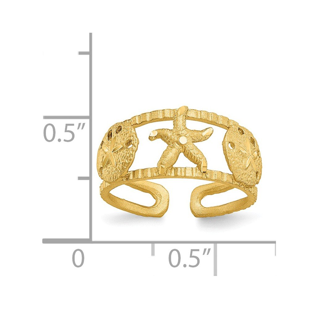 Starfish Toe Ring tapered 14K Yellow Gold Toe Jewelry Rings Solid 3 to 8 mm
