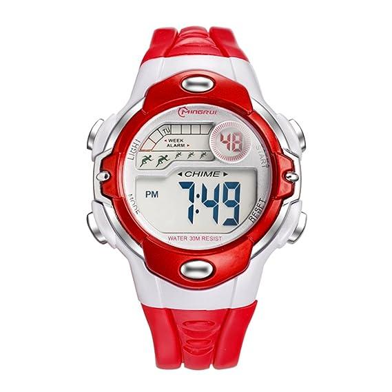 Niño] Relojes digitales,Niña Chico Impermeable Multifunción Reloj deportivo Goma Correa con hebilla pasador-F: Amazon.es: Relojes