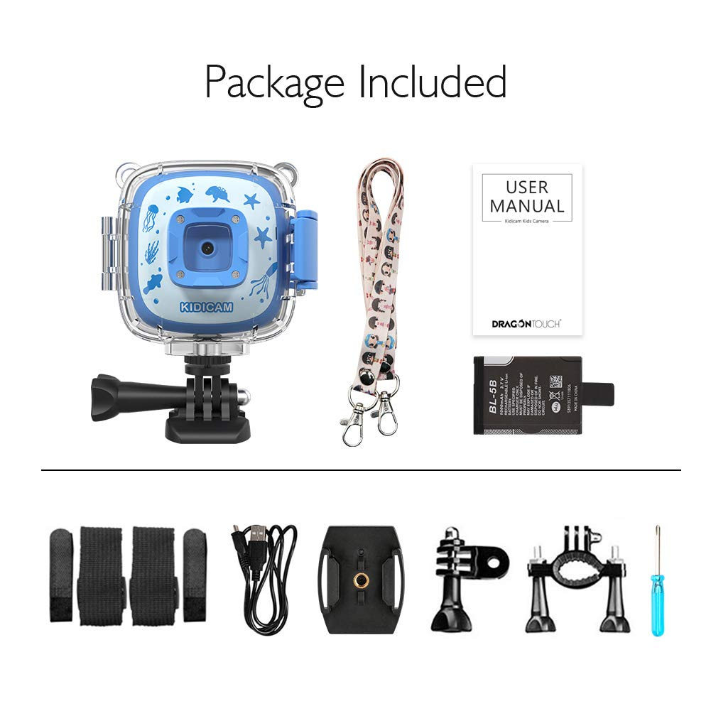 Dragon Touch Kidicam 1080P Kids Action Camera 30m Waterproof Camera (Blue)