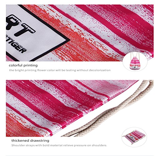 TTD Galaxy Patrón Niños Niñas Niños Drawstring Bolsa mochila escolar Ligero para Gimnasio Viajes Camping-Raya rosa Estrellas