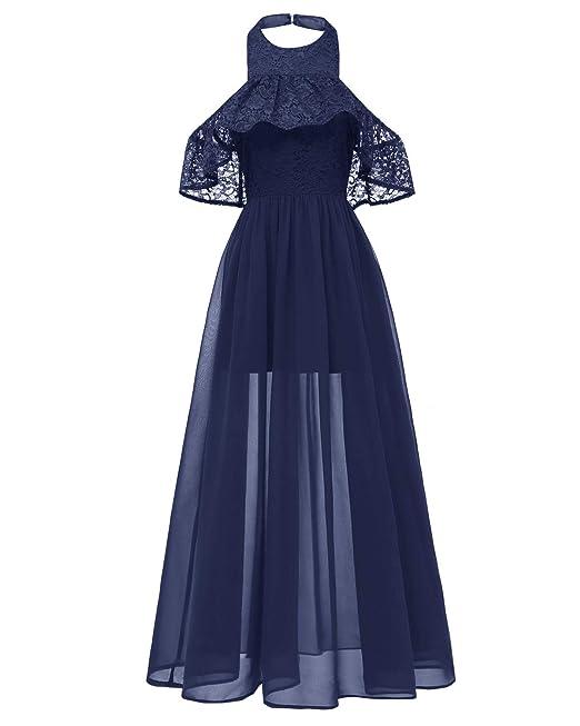 KT SUPPLY Vestiti Donna Lunghi Eleganti Cerimonia Vestito da Sera in Pizzo  Scollatura Alta Abito da b72cda70fab