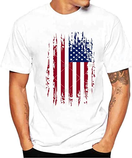 Camiseta Hombre de Verano ❤️Amlaiworld Moda Hombres chicos bandera de impresión camisetas camiseta de manga corta blusa Tops de talla grande (Blanco, M): Amazon.es: Ropa y accesorios