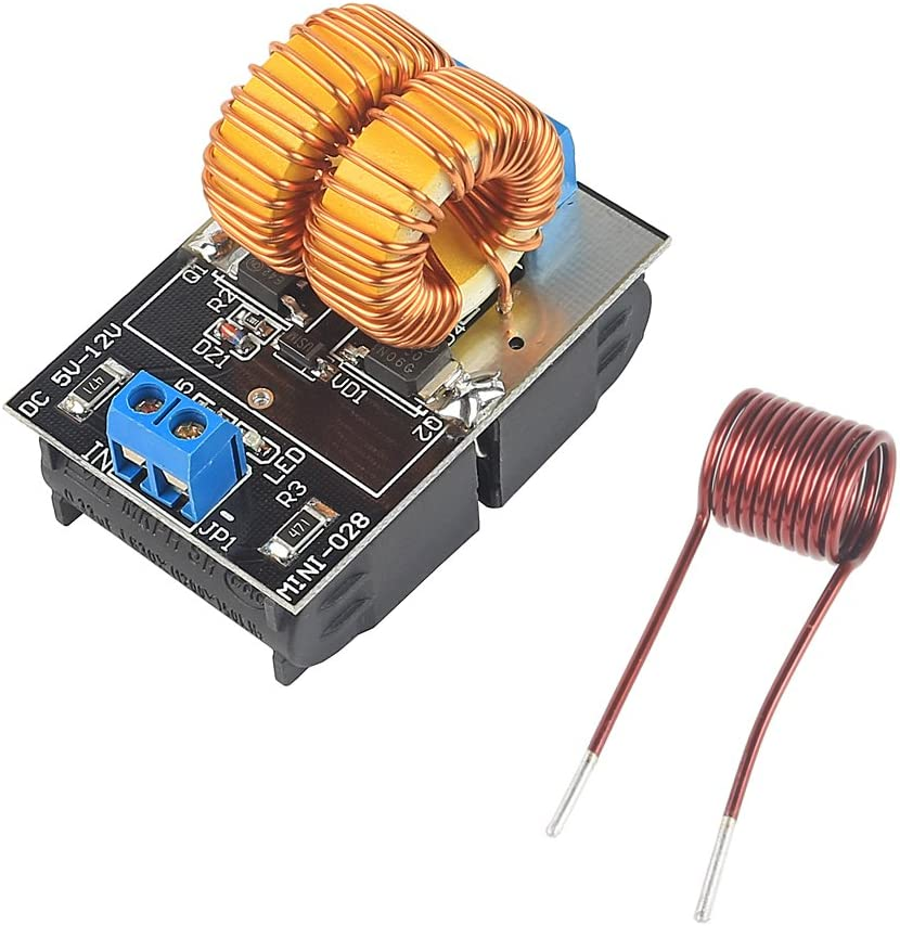 LeaningTech 5V~12V Zero Voltage Switching ZVS Induction Heating Power Supply Module + Coil Power Supply Heating Power Supply Module