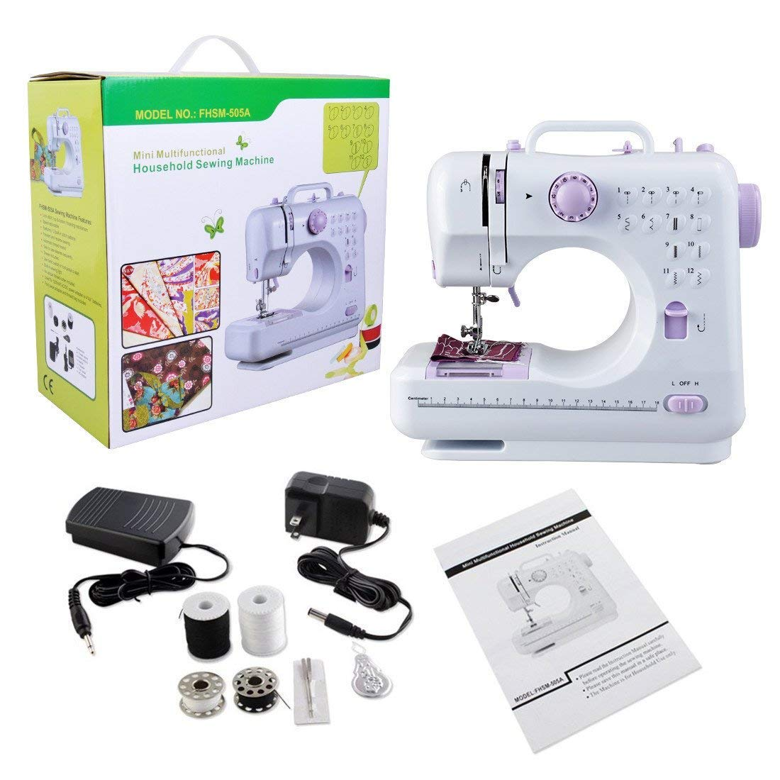 Sewing Machine with Built-In 12 Stitches Household Sewing Machine Handheld Portable with Foot Pedal 2 Speed Double Threads
