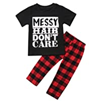 Canis Little Girls Short Sleeve Messy Hair Don't Care Letters Print T-Shirt and Pants Outfit Summer