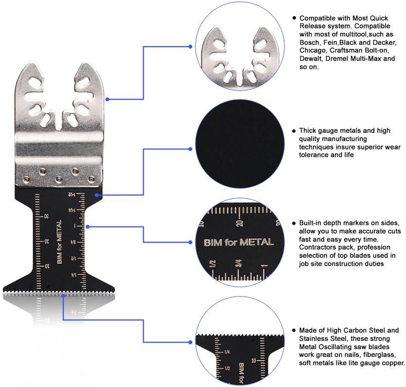 Oxoxo mixtes bi-m/étal Wood Precision Multi outil oscillant Quick Release Lames de scie pour Fein Multimaster Porter Cable Black /& Decker Bosch Dremel dartisanat Outil multifonction