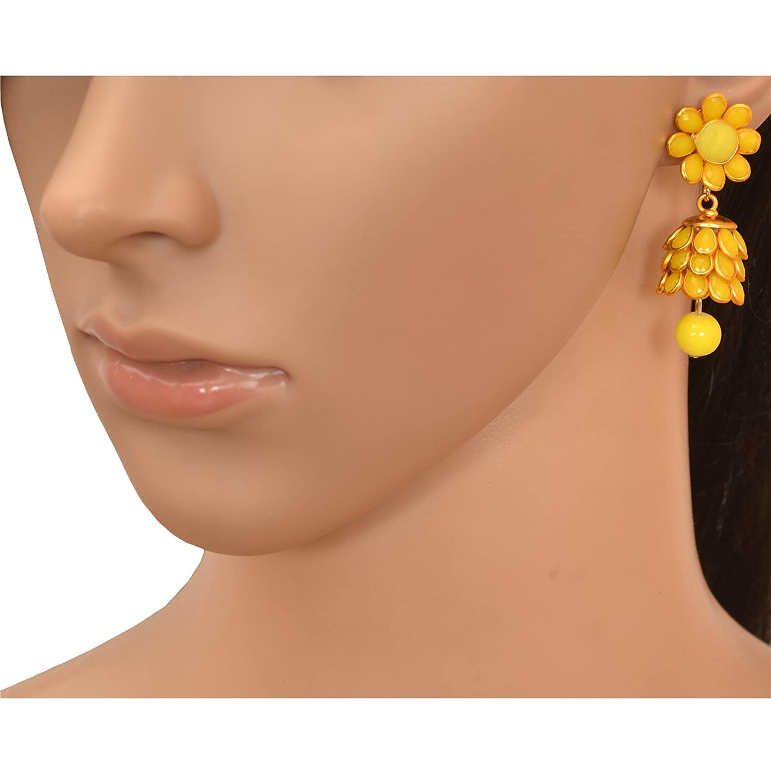 Zephyrr Fashion Golden Pierced Jhumki Earrings with Rhinestones for Girls