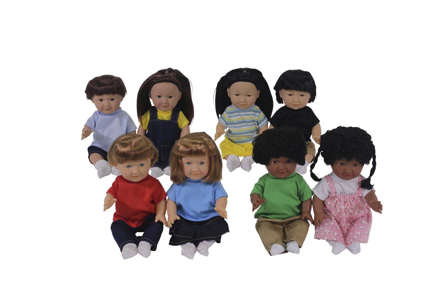 Childcraft Multi Ethnic Dolls Caucasian African American Asian and Hispanic - 13 inch - Set of 8