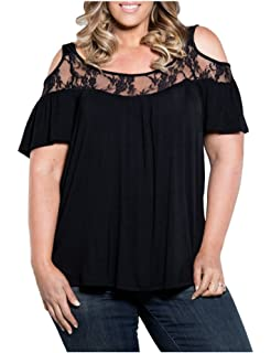 4c8ad74b40f47 Durcoo Womens Shirts Plus Size Off Shoulder Lace Tops Blouse Short Sleeve  Tees