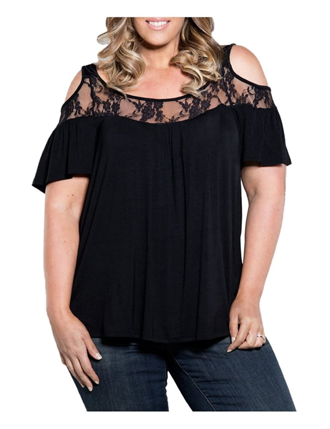 b65dc53bdace08 Features: Plus Size, Cold Shoulder Off, Short Sleeve, Lace Crochet Shirt  Tops