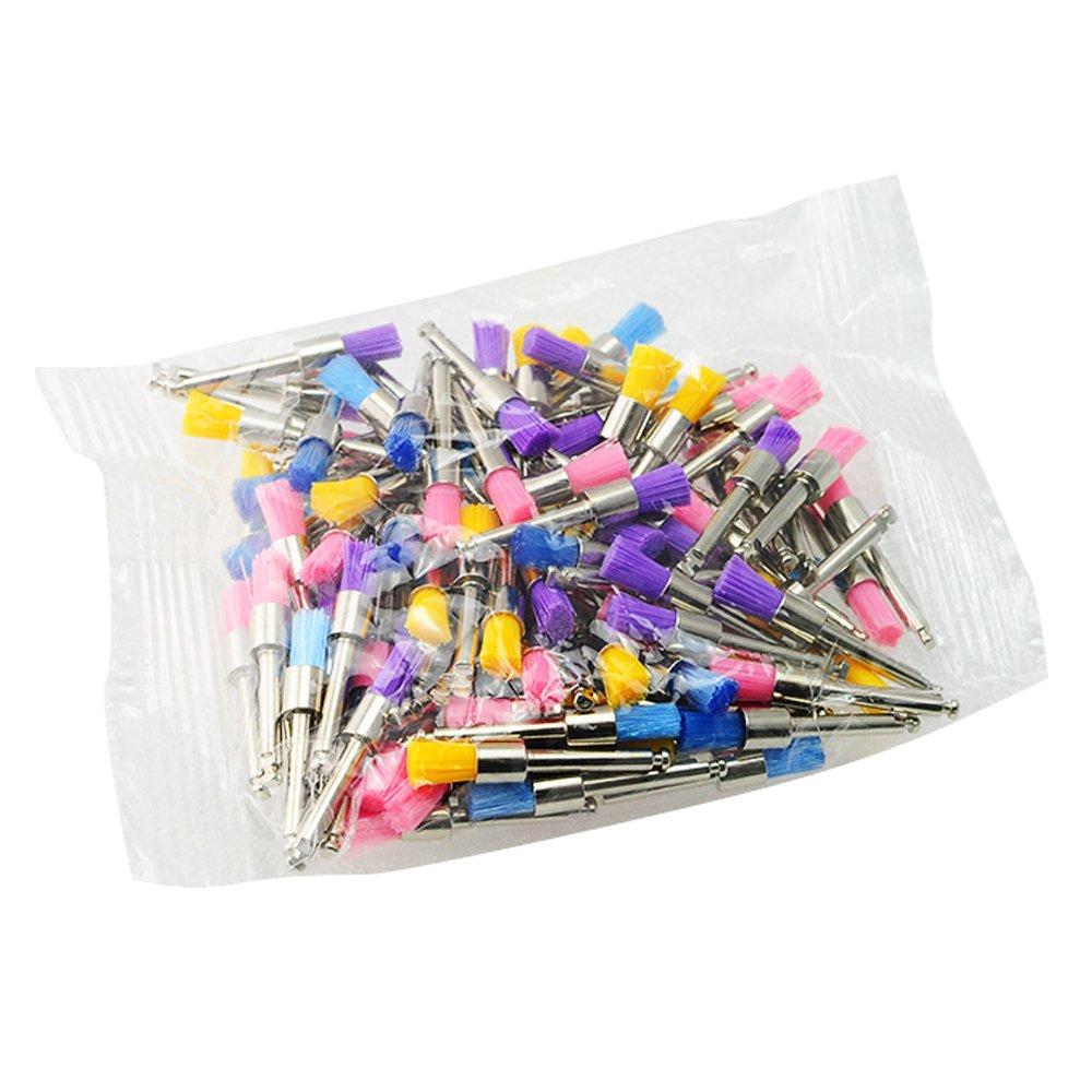 100pcs Dental Multi-Color Nylon latch flat Polishing Polisher Prophy Brushes