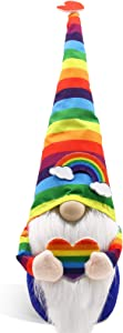 CiyvoLyeen Rainbow Gnome Scandinavian Tomte Nisse Pride Nordic Norris Colorful Home Farmhouse Kitchen Decor LGBTQ Cheer Up Gift Tiered Tray Decorations