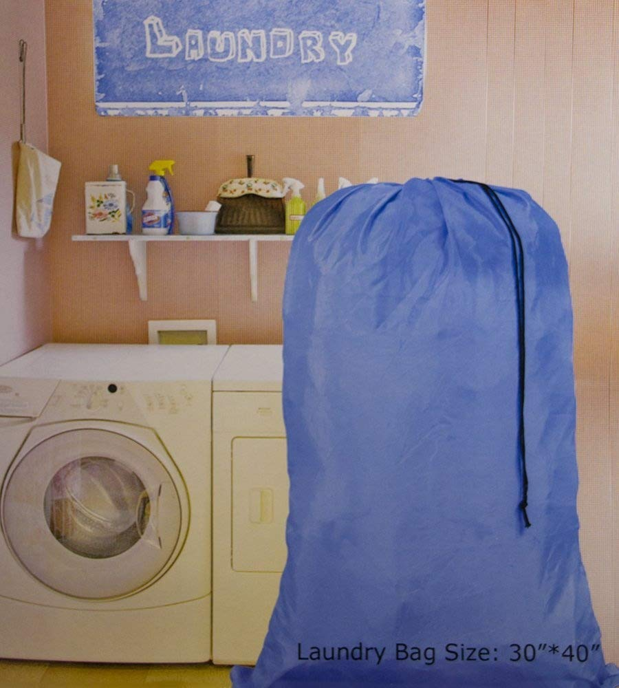 Large 30 X 40 Inch Heavy Duty Nylon Laundry Bag with Drawstring Slip Lock Closure, Assorted Colors and Designs HomeLux