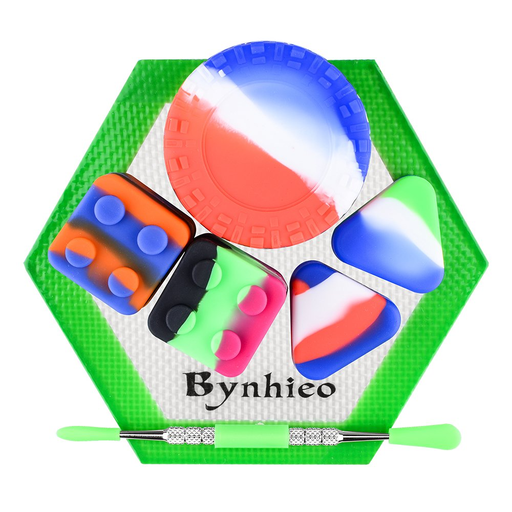 Bynhieo Non-stick 23ML Tire Wax Container + 8ml square Dab Container2pc+Hexagon Mat +Stainless Steel Carving Tool+2pc Triangle 1.5ml Silicone Cases
