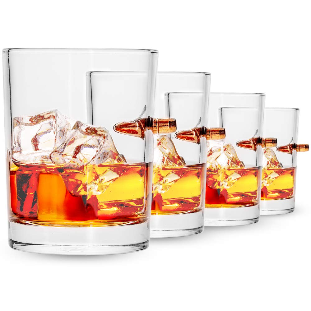 Lucky Shot .308 Real Bullet Handmade Whiskey Glass - Set of 4
