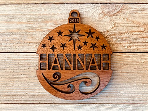 Starry Tree Design (Personalized Christmas Ornament 2018 Solid Wood Starry Nights Design. Ships Fast!)