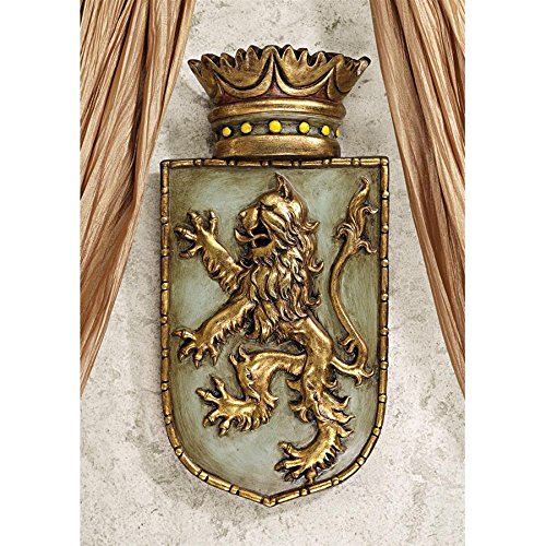 Design Toscano Medieval Rampant Lion Shield Wall Sculpture ()