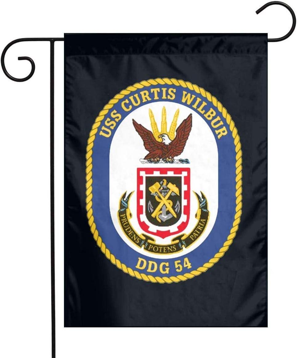 Not Applicable USS Curtis Wilbur DDG-54 Destructor de misiles guiados Bandera de jardín Bandera Decorativa Bandera de Patio de un Solo Lado al Aire Libre 12.5