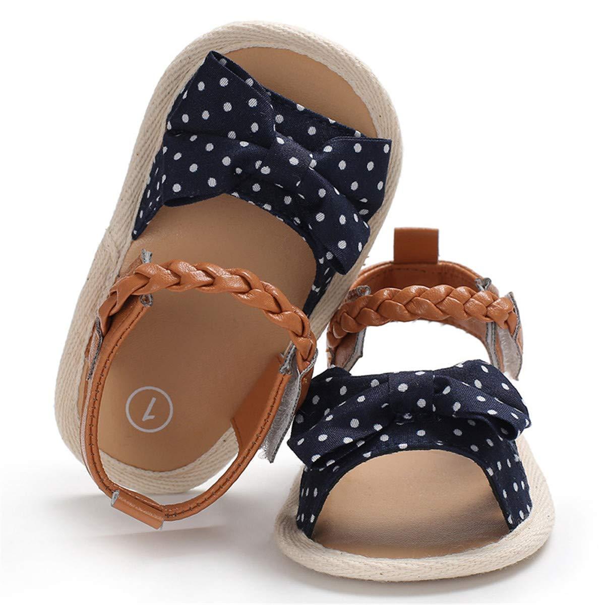 BEBARFER Infant Baby Girls Sandals T-Strap Flower Summer Shoes Anti-Slip Rubber Sole Toddler First Walker Crib Shoes