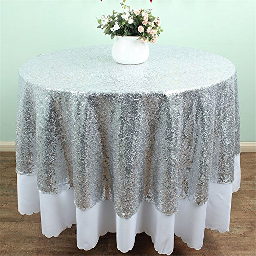SoarDream 72 Inch Round sparkly Silver cheap Sequin Tablecloth for Wedding Christmas