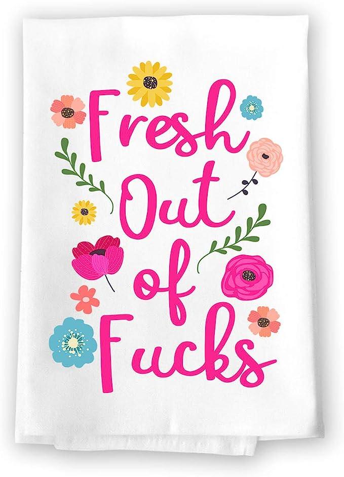 """Funny White Flour Sack Kitchen Dish Towel W// Loop-F**kity F**k F**k F**k/"""""""