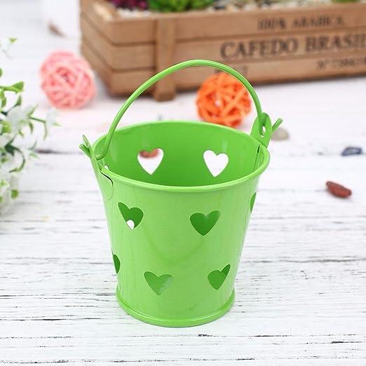 PENVEAT Macetas de metal huecas pequeñas para macetas de jardín, balcón, decoración de macetas, color verde: Amazon.es: Jardín