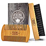 Viking Revolution Beard Comb & Beard Brush Set for Men - Natural Boar Bristle Brush and Dual Action Pear Wood Comb w/Velvet Travel Pouch - Great for Grooming Beards and Mustaches