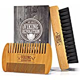 BEST DEAL Beard Brush and Comb Set for Men - Natural Boar Bristle Brush and Dual Action Pear Wood Comb w/ Velvet Travel Pouch - Great for Grooming Beards and Mustache by Viking Revolution