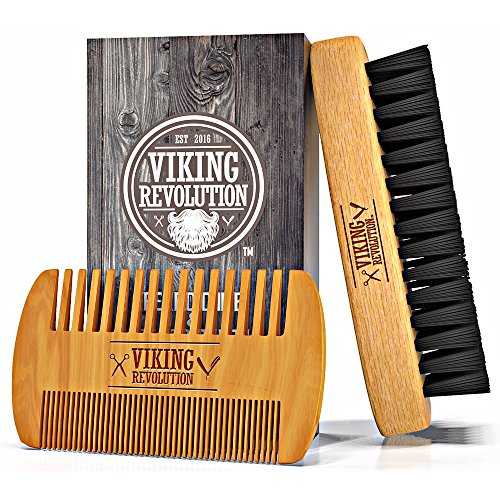 Viking Revolution Beard Comb & Beard Brush Set for Men - Natural Boar Bristle Brush and Dual Action Pear Wood Comb w/Velvet Travel Pouch - Great for Grooming Beards and Mustaches ()