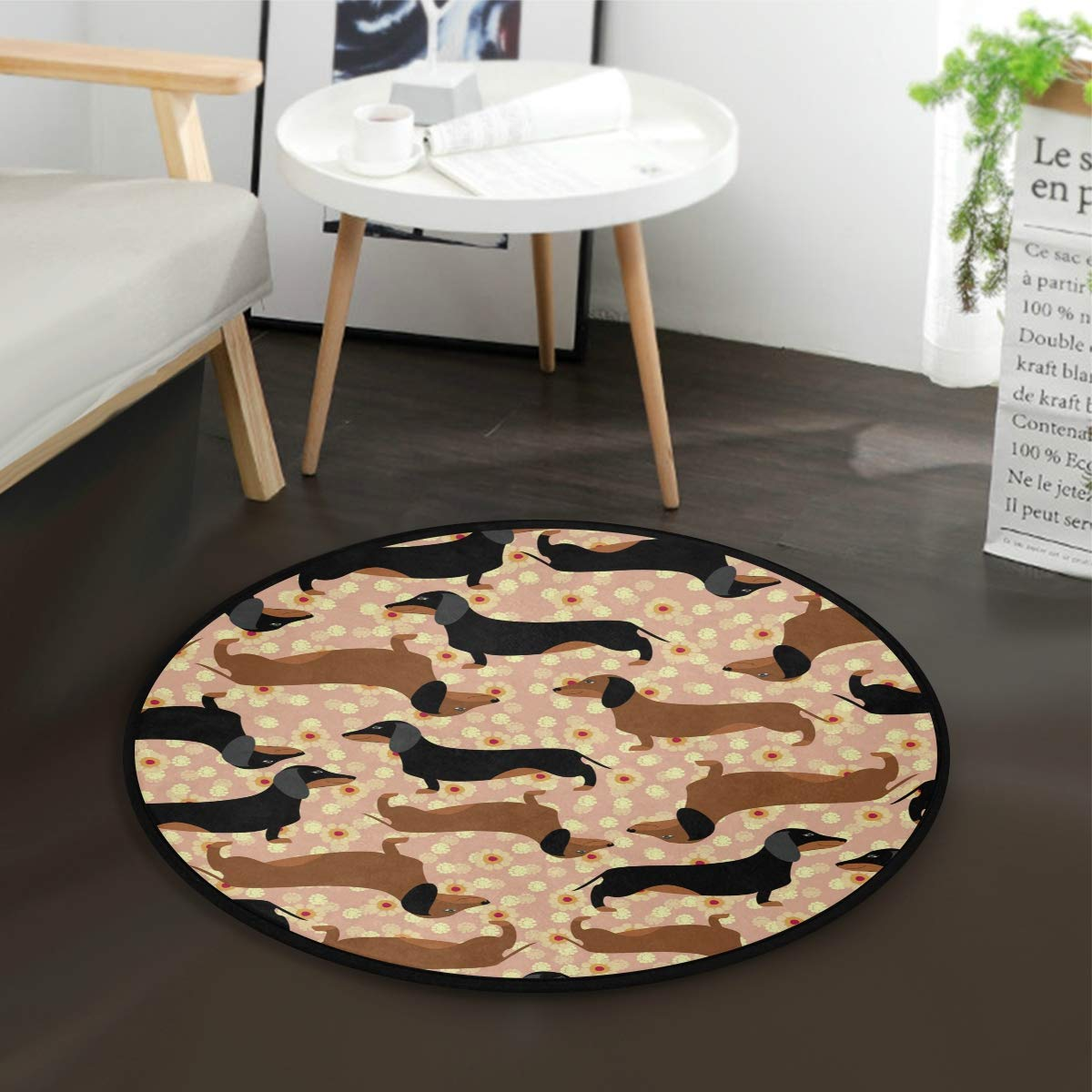Diameter 36.2 AMONKA Cute Dachshund Dog Flowers Kids Round Rug Baby Crawling Non-Slip Mats Child Activity Play Mat For Bedroom Playroom Home Decor